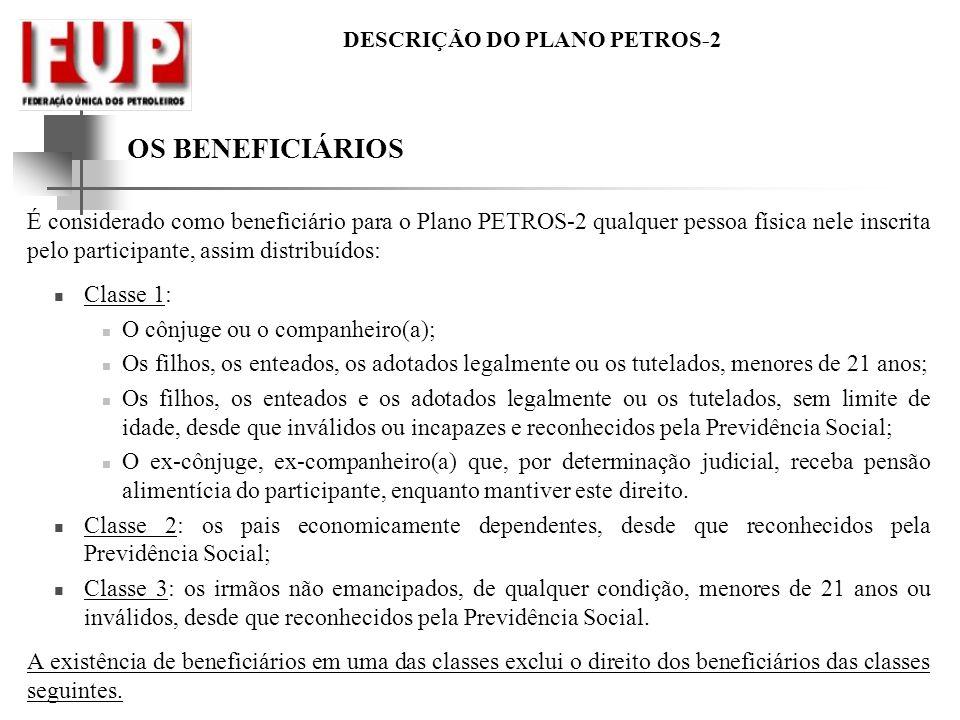 OS BENEFICIÁRIOS É considerado como beneficiário para o Plano PETROS-2 qualquer pessoa física nele inscrita pelo participante, assim distribuídos: