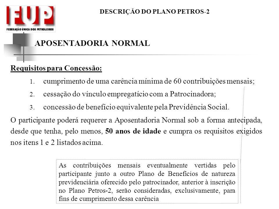 APOSENTADORIA NORMAL Requisitos para Concessão: