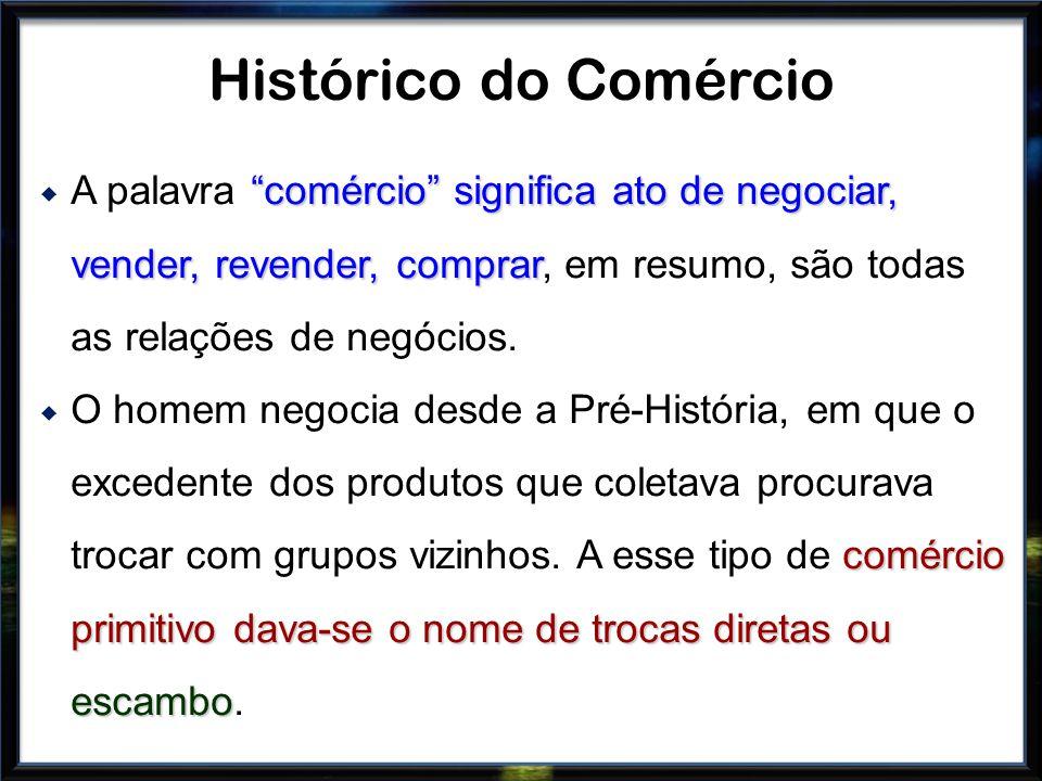 Histórico do Comércio A palavra comércio significa ato de negociar, vender, revender, comprar, em resumo, são todas as relações de negócios.