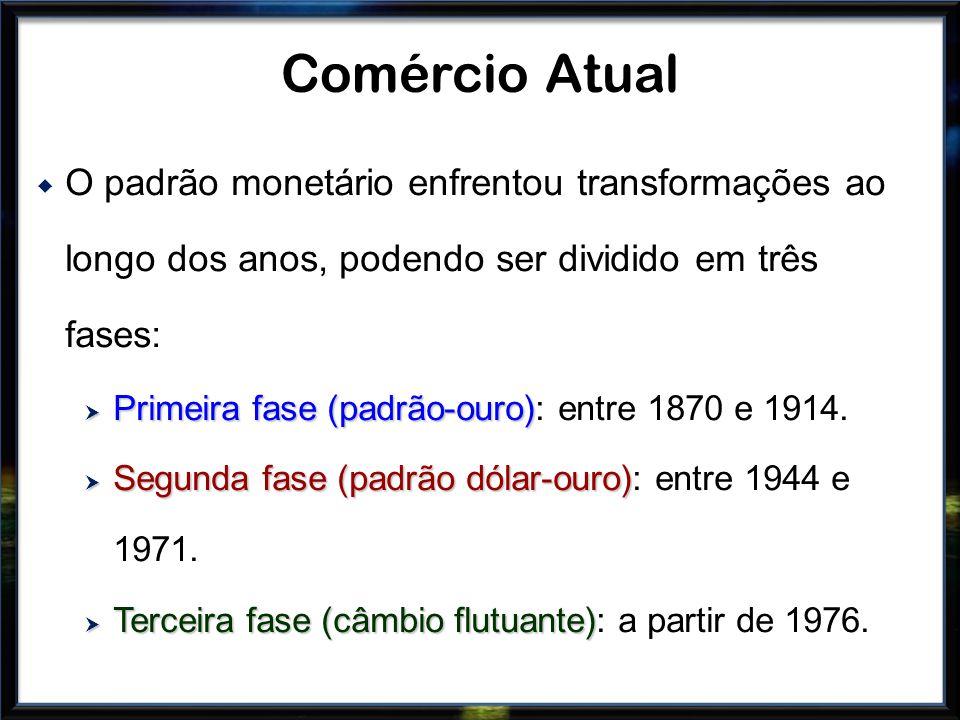 Comércio Atual O padrão monetário enfrentou transformações ao longo dos anos, podendo ser dividido em três fases: