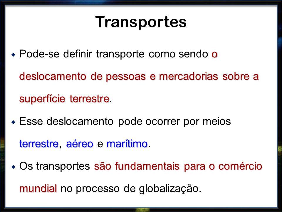 Transportes Pode-se definir transporte como sendo o deslocamento de pessoas e mercadorias sobre a superfície terrestre.
