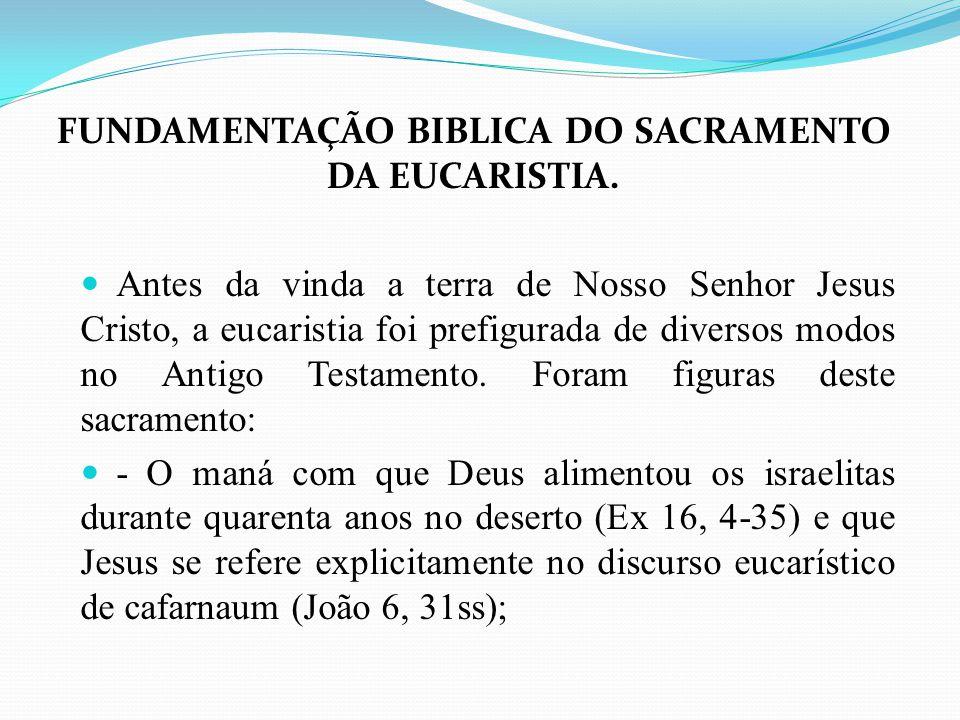 FUNDAMENTAÇÃO BIBLICA DO SACRAMENTO DA EUCARISTIA.