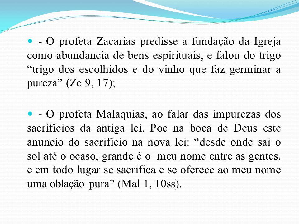 - O profeta Zacarias predisse a fundação da Igreja como abundancia de bens espirituais, e falou do trigo trigo dos escolhidos e do vinho que faz germinar a pureza (Zc 9, 17);