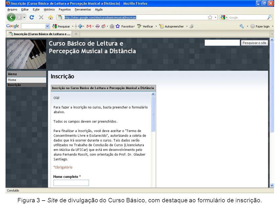 Figura 3 – Site de divulgação do Curso Básico, com destaque ao formulário de inscrição.