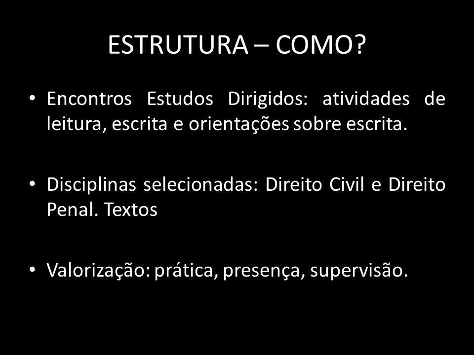 ESTRUTURA – COMO Encontros Estudos Dirigidos: atividades de leitura, escrita e orientações sobre escrita.