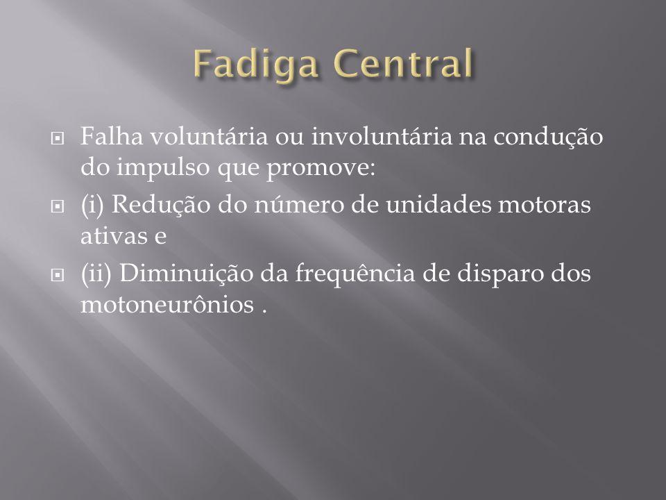 Fadiga Central Falha voluntária ou involuntária na condução do impulso que promove: (i) Redução do número de unidades motoras ativas e.
