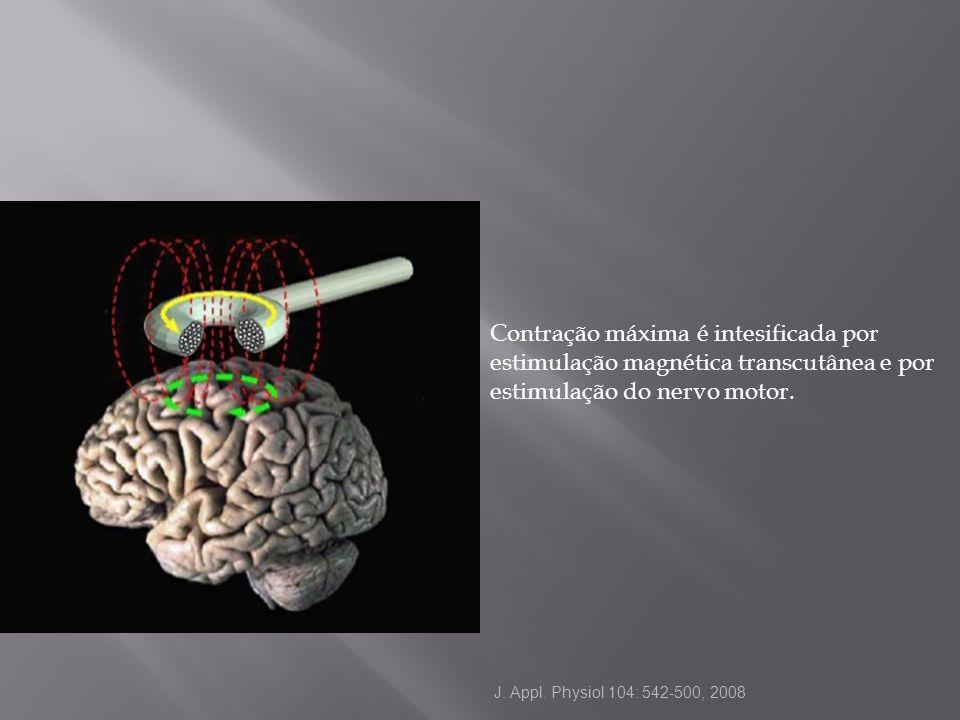 Contração máxima é intesificada por estimulação magnética transcutânea e por estimulação do nervo motor.