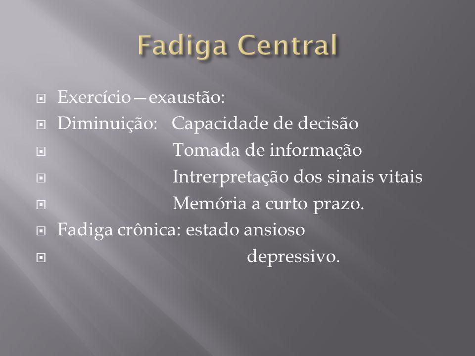 Fadiga Central Exercício—exaustão: Diminuição: Capacidade de decisão