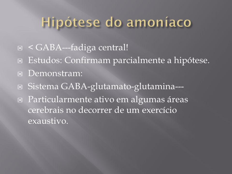 Hipótese do amoníaco < GABA---fadiga central!