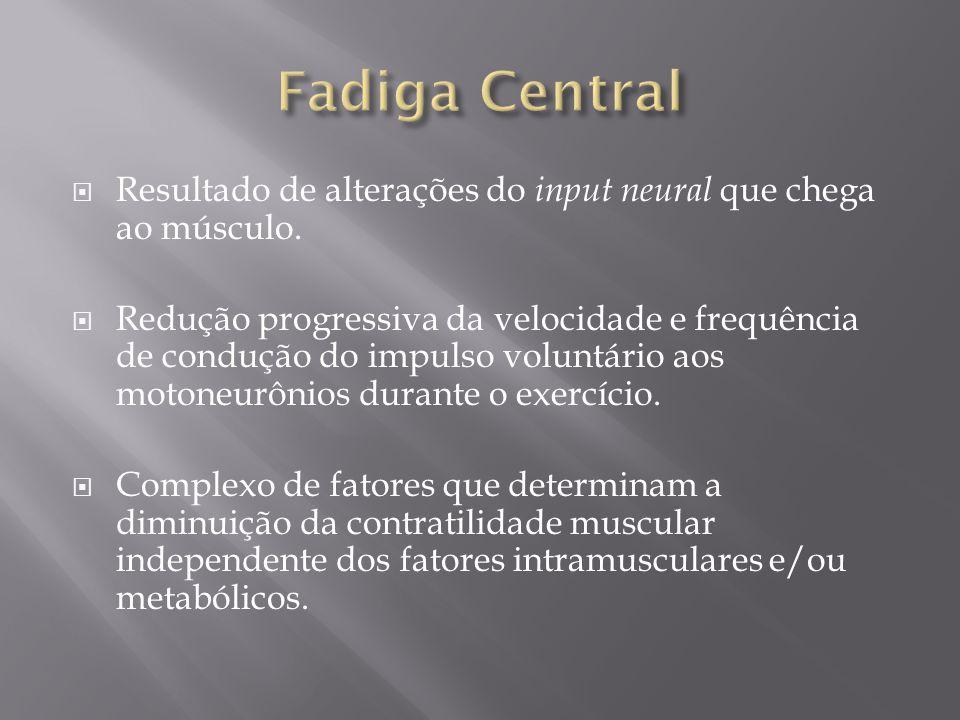 Fadiga Central Resultado de alterações do input neural que chega ao músculo.