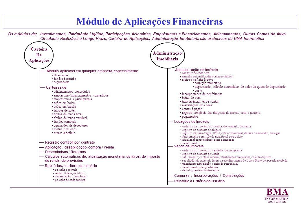 Módulo de Aplicações Financeiras