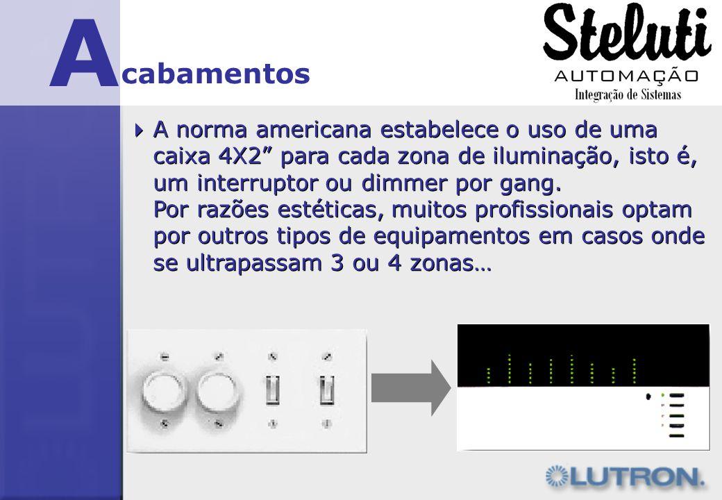 A cabamentos. A norma americana estabelece o uso de uma caixa 4X2 para cada zona de iluminação, isto é, um interruptor ou dimmer por gang.