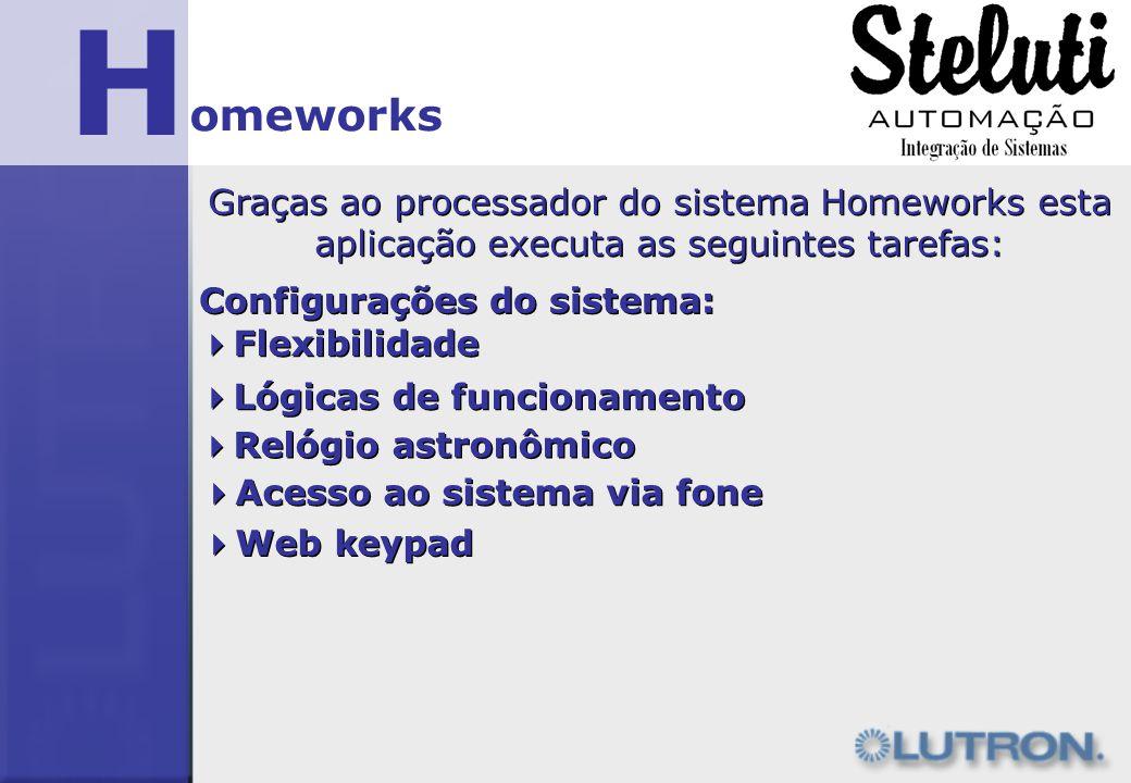 H omeworks. Graças ao processador do sistema Homeworks esta aplicação executa as seguintes tarefas: