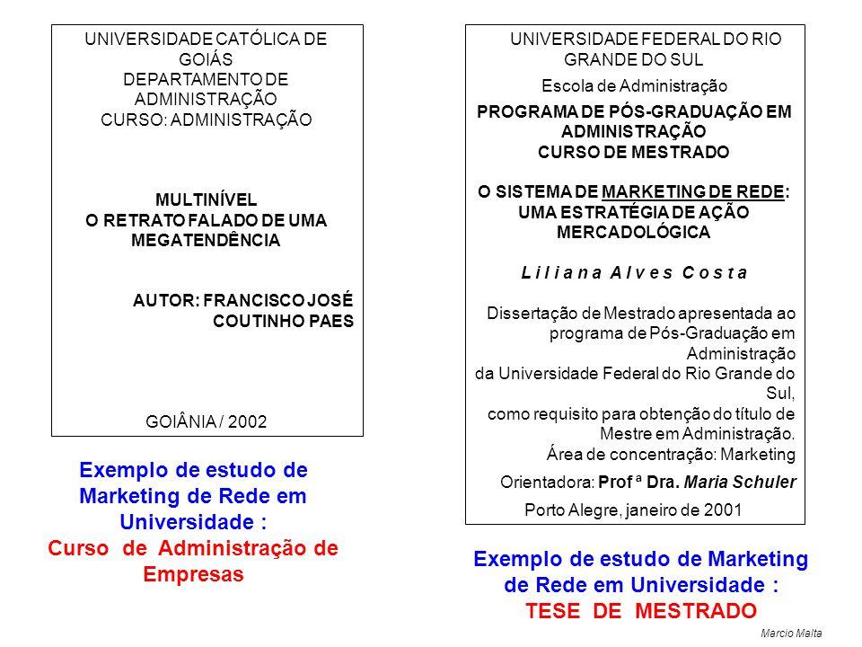 Exemplo de estudo de Marketing de Rede em Universidade :