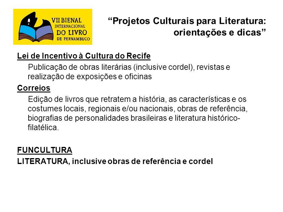 Projetos Culturais para Literatura: orientações e dicas