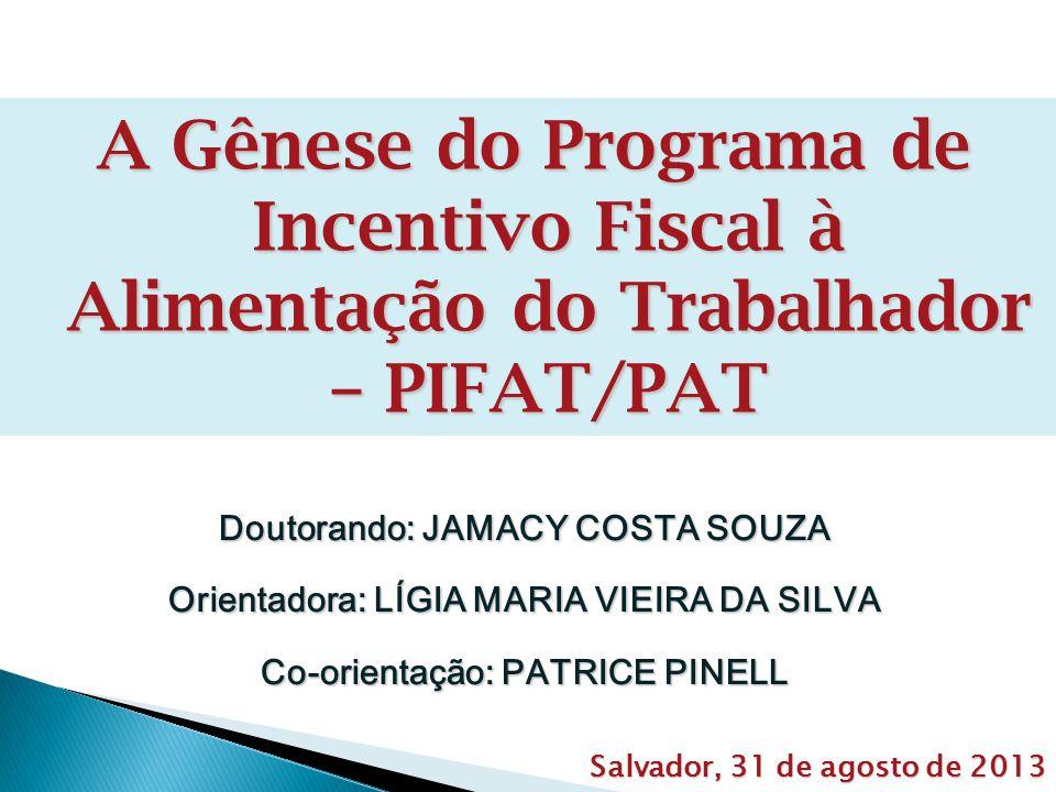 A Gênese do Programa de Incentivo Fiscal à Alimentação do Trabalhador – PIFAT/PAT