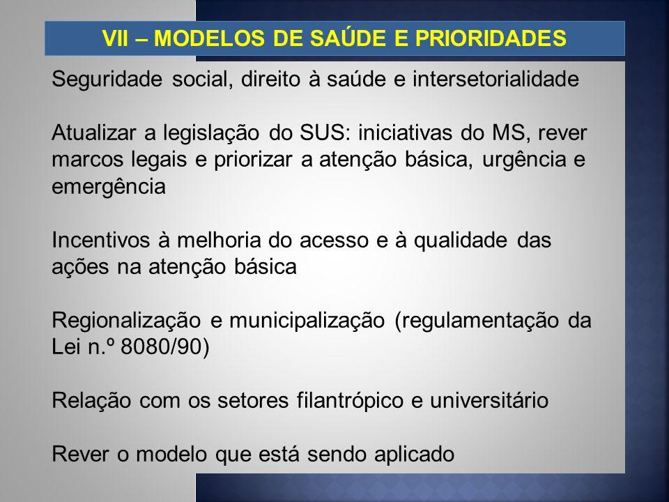 VII – MODELOS DE SAÚDE E PRIORIDADES