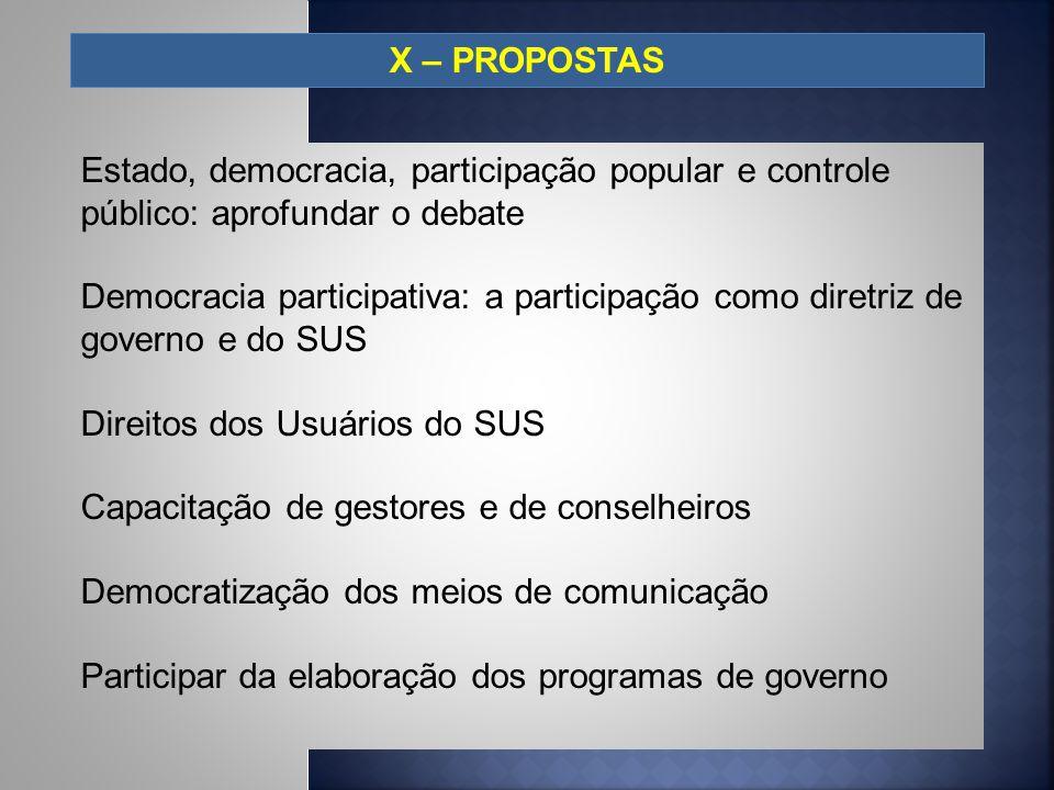 X – PROPOSTAS Estado, democracia, participação popular e controle público: aprofundar o debate.