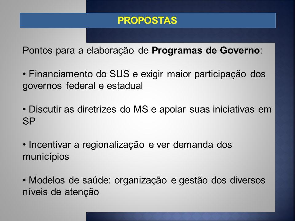 PROPOSTAS Pontos para a elaboração de Programas de Governo: Financiamento do SUS e exigir maior participação dos governos federal e estadual.