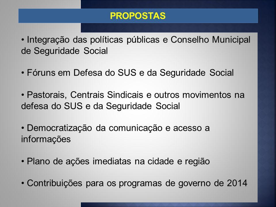 PROPOSTAS Integração das políticas públicas e Conselho Municipal de Seguridade Social. Fóruns em Defesa do SUS e da Seguridade Social.