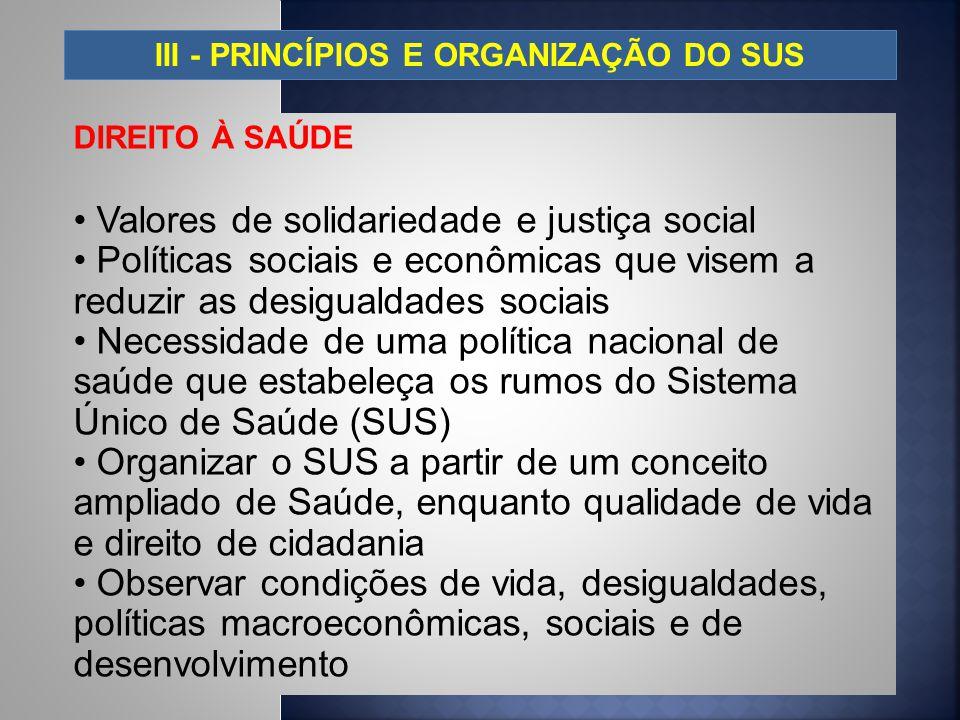 III - PRINCÍPIOS E ORGANIZAÇÃO DO SUS