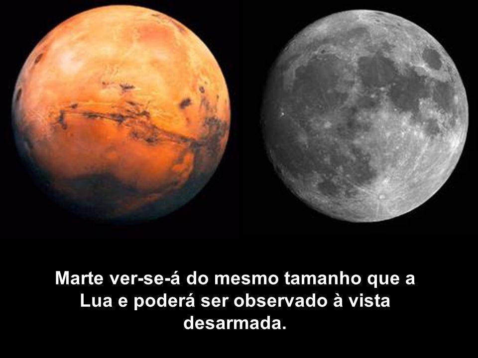 Marte ver-se-á do mesmo tamanho que a Lua e poderá ser observado à vista desarmada.