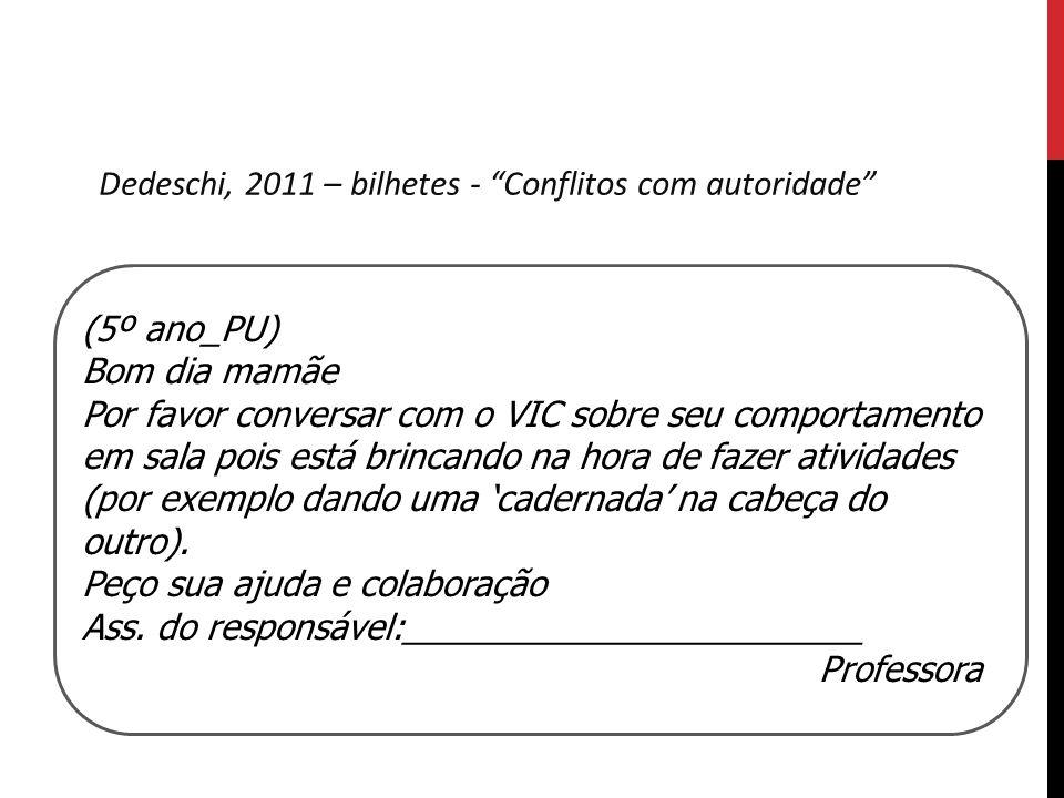 Dedeschi, 2011 – bilhetes - Conflitos com autoridade