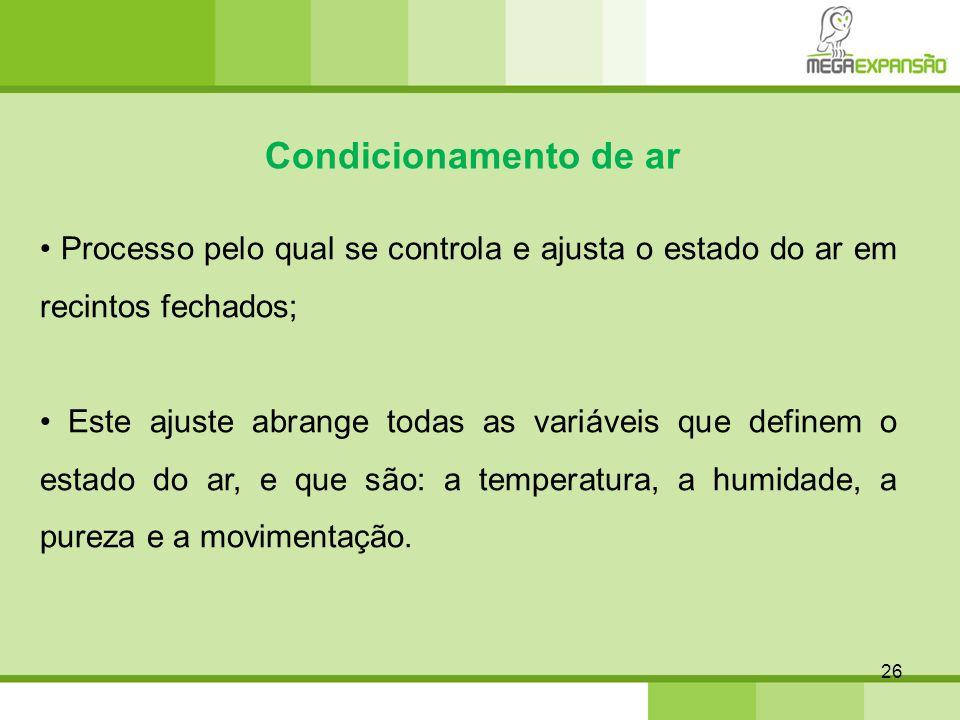 Condicionamento de ar • Processo pelo qual se controla e ajusta o estado do ar em recintos fechados;