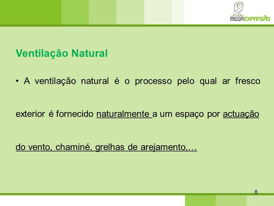 Ventilação Natural • A ventilação natural é o processo pelo qual ar fresco exterior é fornecido naturalmente a um espaço por actuação.