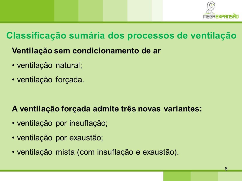 Classificação sumária dos processos de ventilação
