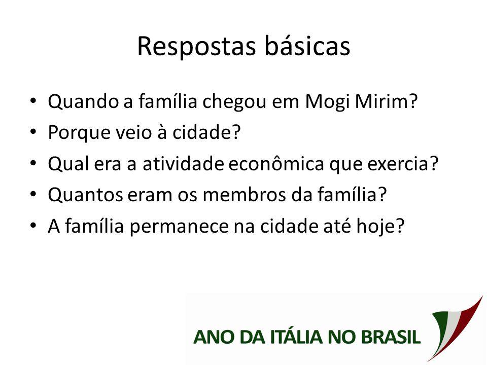 Respostas básicas Quando a família chegou em Mogi Mirim