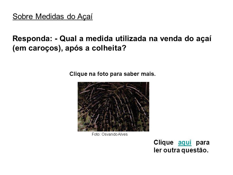 Sobre Medidas do Açaí Responda: - Qual a medida utilizada na venda do açaí (em caroços), após a colheita