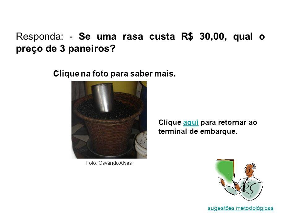 Responda: - Se uma rasa custa R$ 30,00, qual o preço de 3 paneiros