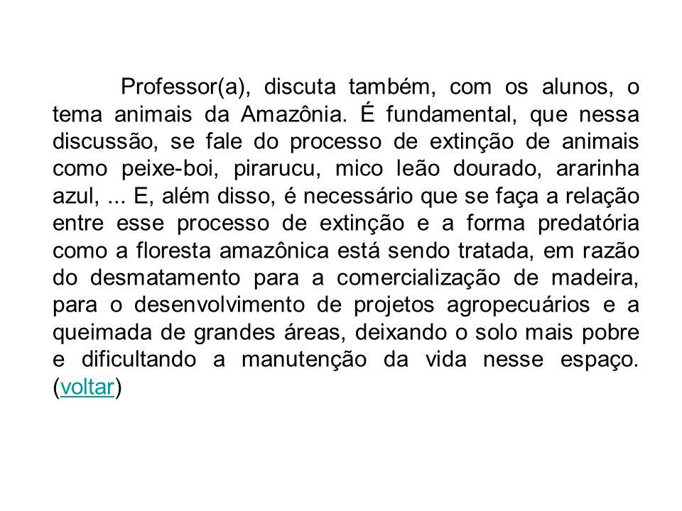 Professor(a), discuta também, com os alunos, o tema animais da Amazônia.