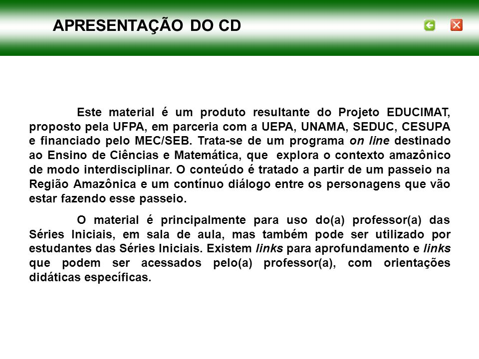 APRESENTAÇÃO DO CD