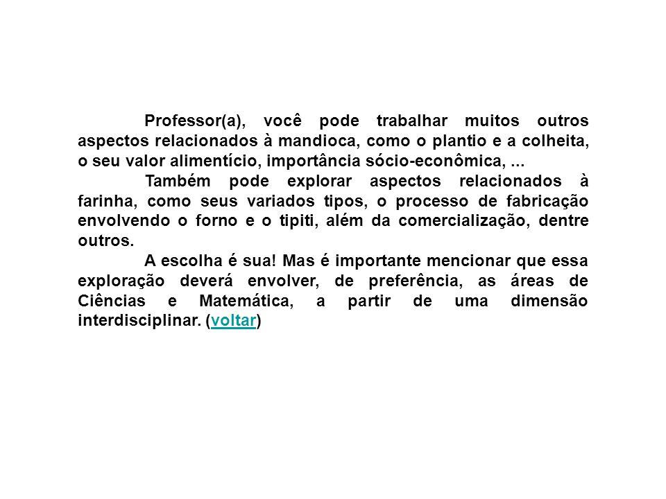 Professor(a), você pode trabalhar muitos outros aspectos relacionados à mandioca, como o plantio e a colheita, o seu valor alimentício, importância sócio-econômica, ...