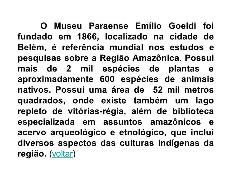 O Museu Paraense Emílio Goeldi foi fundado em 1866, localizado na cidade de Belém, é referência mundial nos estudos e pesquisas sobre a Região Amazônica.
