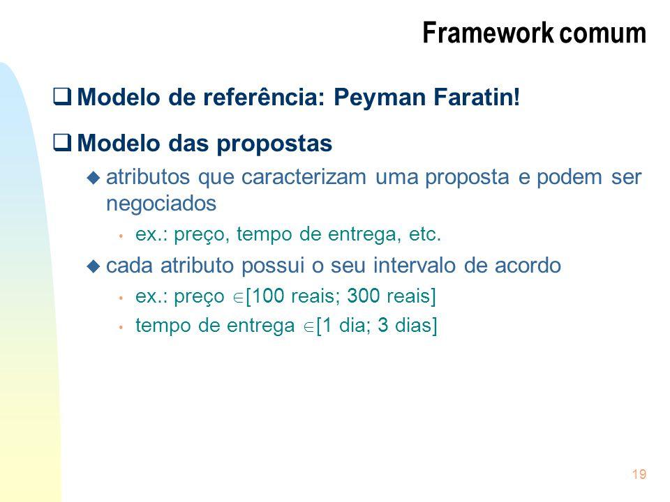Framework comum Modelo de referência: Peyman Faratin!