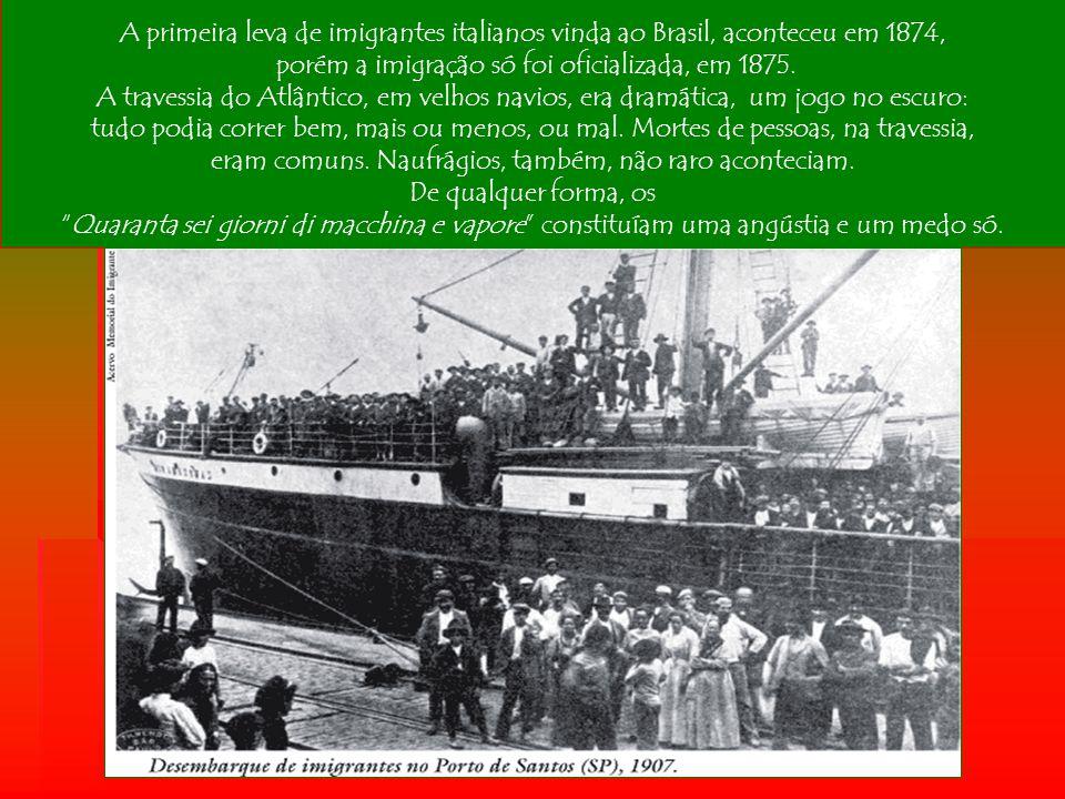 porém a imigração só foi oficializada, em 1875.
