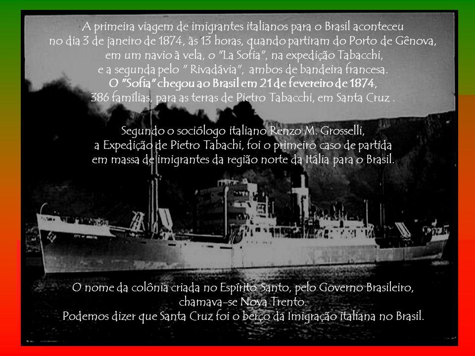 A primeira viagem de imigrantes italianos para o Brasil aconteceu
