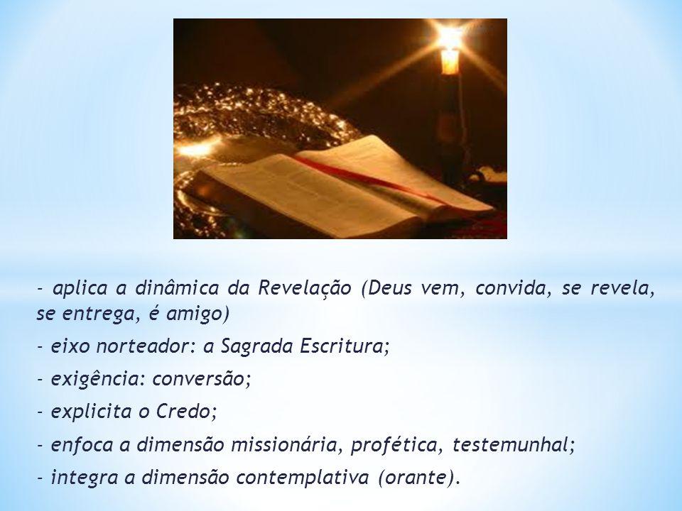- aplica a dinâmica da Revelação (Deus vem, convida, se revela, se entrega, é amigo)
