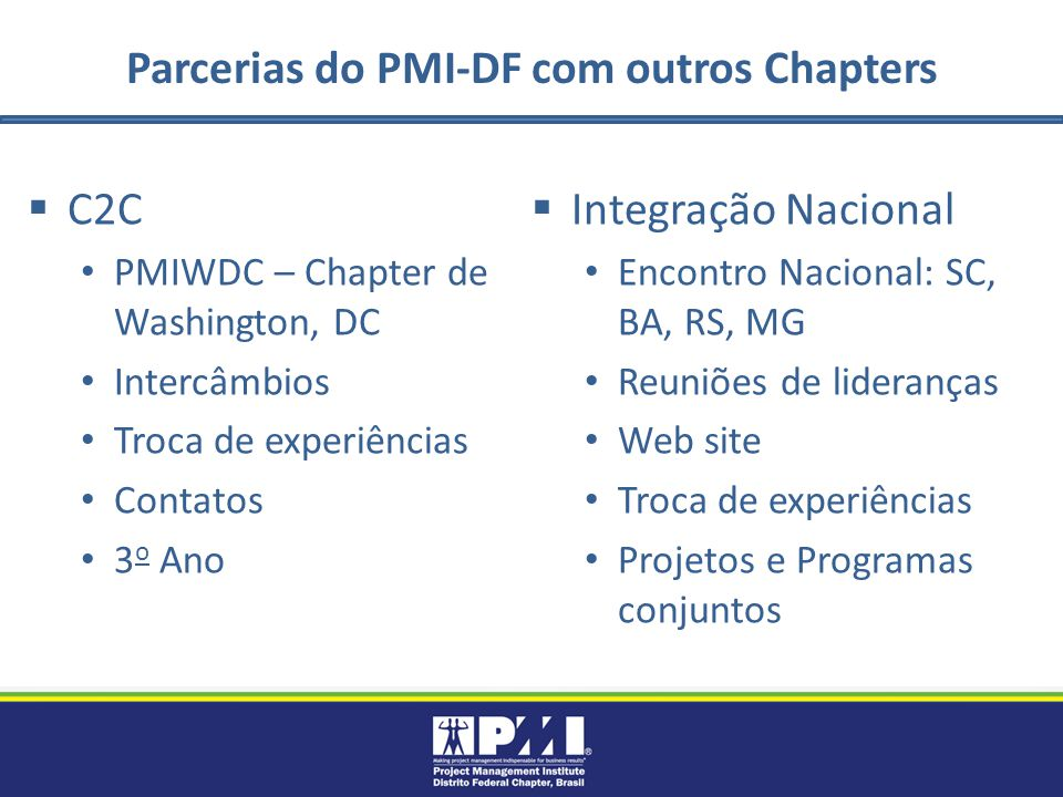 Parcerias do PMI-DF com outros Chapters