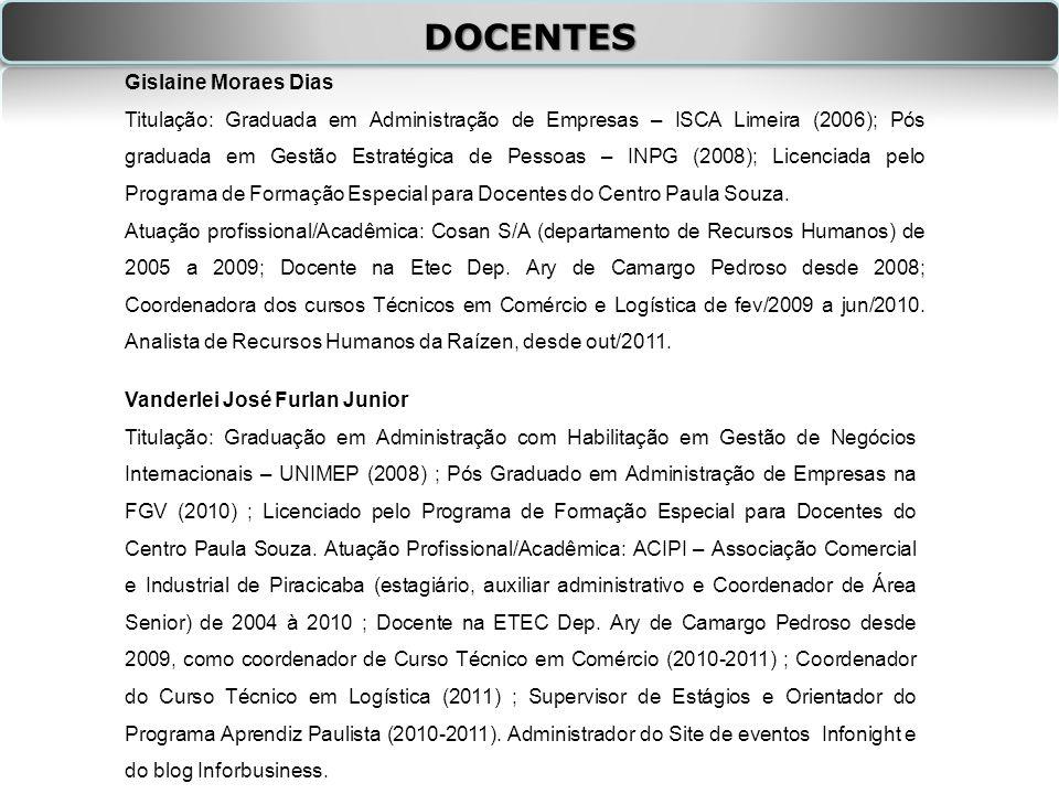 DOCENTES Gislaine Moraes Dias