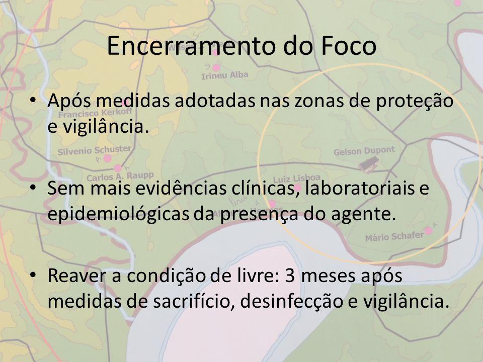 Encerramento do Foco Após medidas adotadas nas zonas de proteção e vigilância.