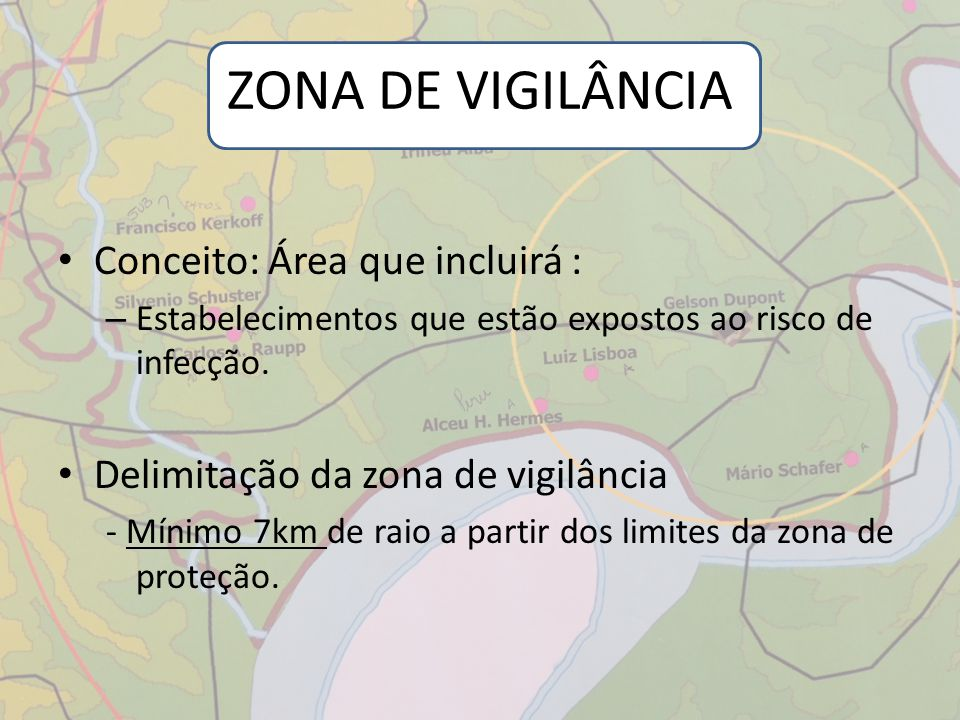 ZONA DE VIGILÂNCIA Conceito: Área que incluirá :