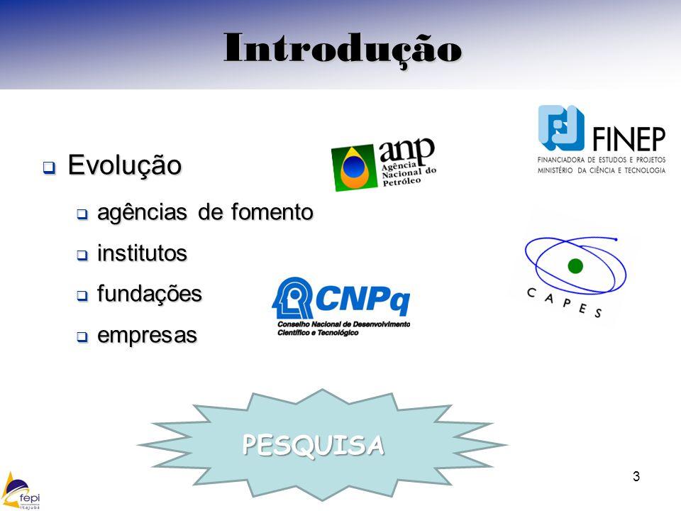 Introdução Evolução PESQUISA agências de fomento institutos fundações
