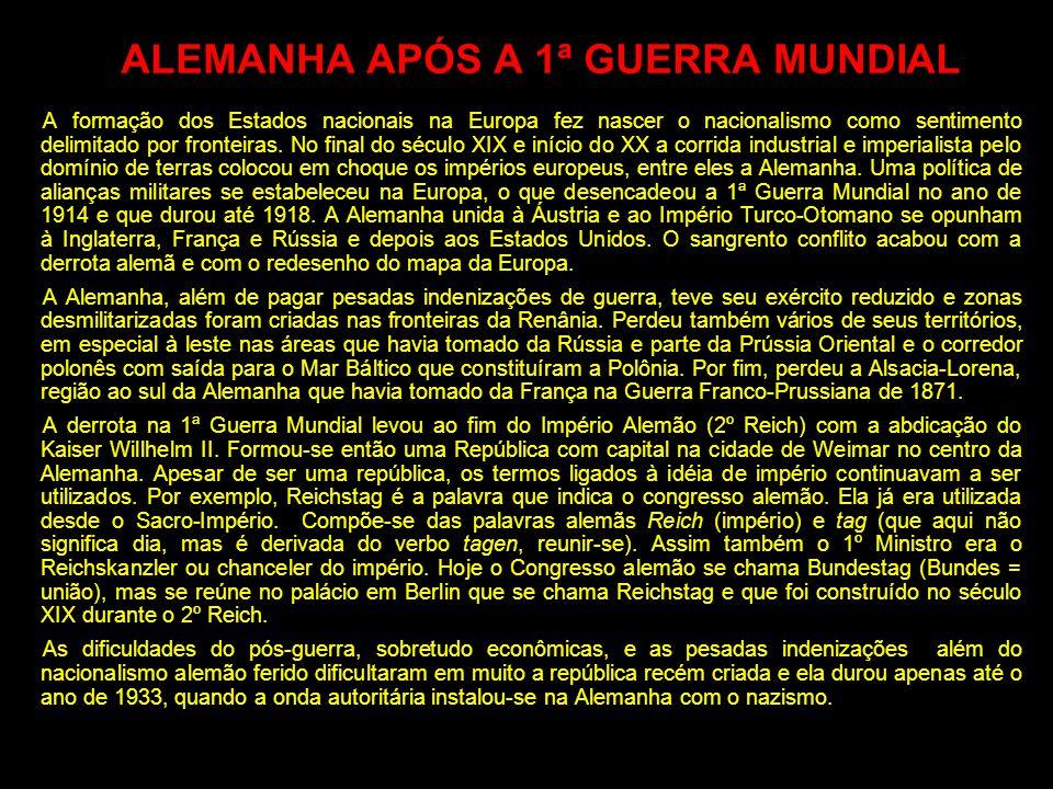 ALEMANHA APÓS A 1ª GUERRA MUNDIAL