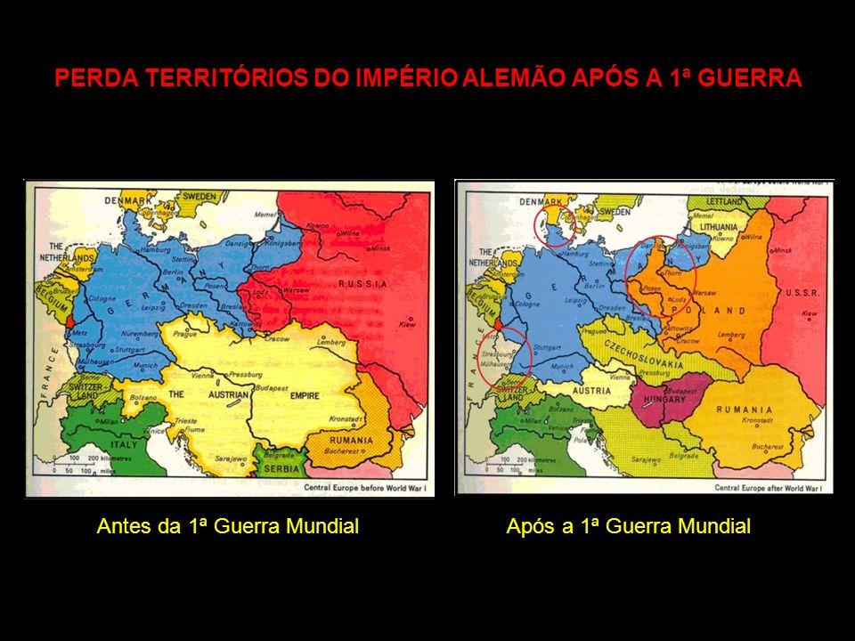 PERDA TERRITÓRIOS DO IMPÉRIO ALEMÃO APÓS A 1ª GUERRA