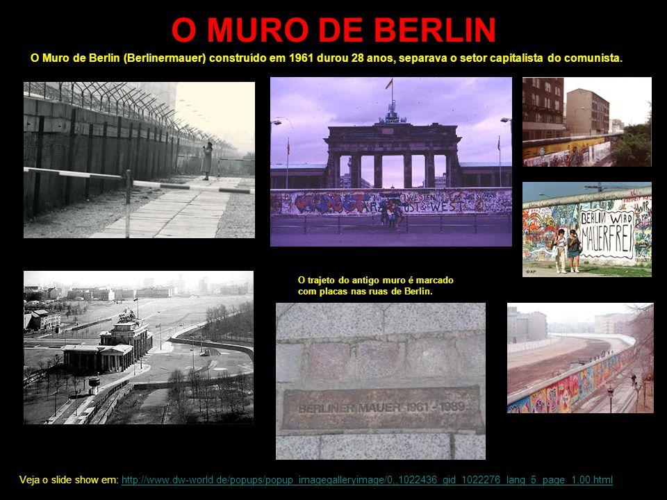 O MURO DE BERLIN O Muro de Berlin (Berlinermauer) construído em 1961 durou 28 anos, separava o setor capitalista do comunista.