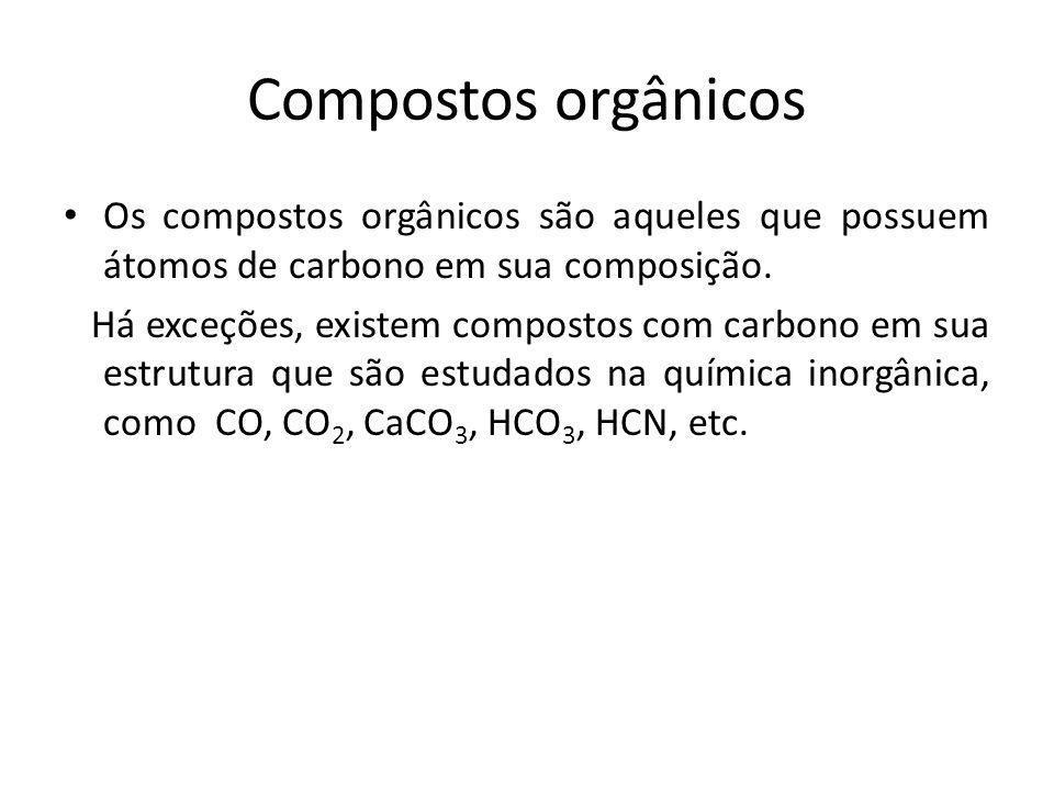 Compostos orgânicos Os compostos orgânicos são aqueles que possuem átomos de carbono em sua composição.